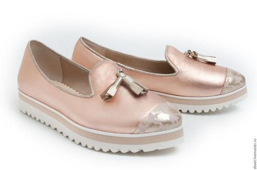 Обувь ручной работы. Ярмарка Мастеров - ручная работа. Купить Лоферы Rossi. Handmade. Золотой, обувь ручной работы