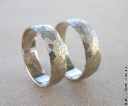 Свадебные украшения ручной работы. Ярмарка Мастеров - ручная работа. Купить Граненые обручальные кольца из белого золота. Handmade. Белый