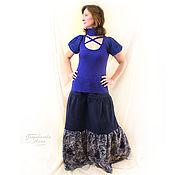 Одежда handmade. Livemaster - original item Long skirt corduroy Blue evening,autumn, winter,spring. Handmade.