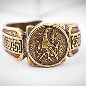 Украшения ручной работы. Ярмарка Мастеров - ручная работа Мужское кольцо Танцующий журавль, перстень из бронзы славянский символ. Handmade.