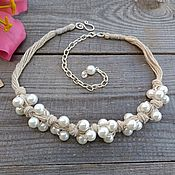 Украшения handmade. Livemaster - original item Beads Necklace White Glass Pearl Chunky Simple Silver Thread Beads Boho. Handmade.