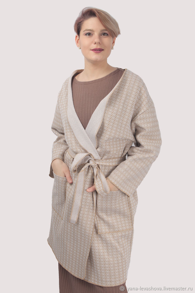 Cardigan coat thick cotton beige oversize plus size, Cardigans, Moscow,  Фото №1