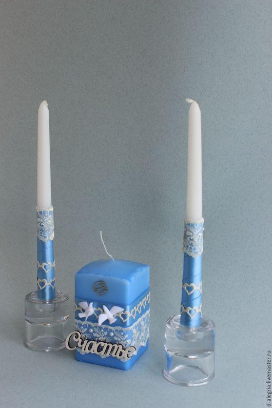 """Свадебные аксессуары ручной работы. Ярмарка Мастеров - ручная работа. Купить Свадебные свечи """"Счастье"""" в голубом цвете. Handmade. Голубой"""