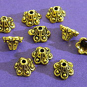 Материалы для творчества handmade. Livemaster - original item Bead caps, gold color, 8h7 mm. 10 PCs. Handmade.
