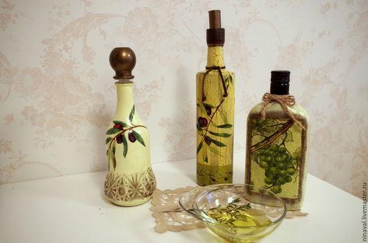 Кухня ручной работы. Ярмарка Мастеров - ручная работа. Купить Бутылки для оливкового масла в технике декупаж. Handmade. Оливковый