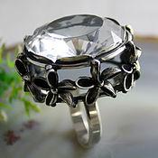 Rings handmade. Livemaster - original item Crystal flower ring - rhinestone, 925 silver. Handmade.