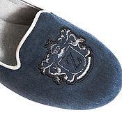Обувь ручной работы. Ярмарка Мастеров - ручная работа Лоферы замшевые с вышивкой Blue. Handmade.
