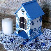 Для дома и интерьера handmade. Livemaster - original item tea house. decoupage. Gzhel motifs. Handmade.
