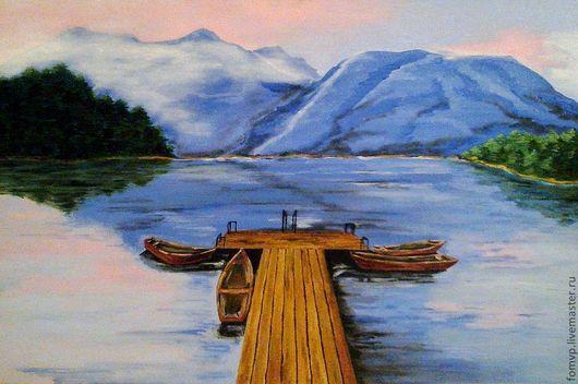 """Пейзаж ручной работы. Ярмарка Мастеров - ручная работа. Купить Картина """"Причал"""". Handmade. Картина, лодки, озеро, горы, пейзаж"""