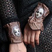 Украшения handmade. Livemaster - original item 3D leather Cuffs