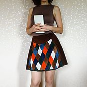 "Одежда handmade. Livemaster - original item Suede Skirt ""Harlequin"". Handmade."