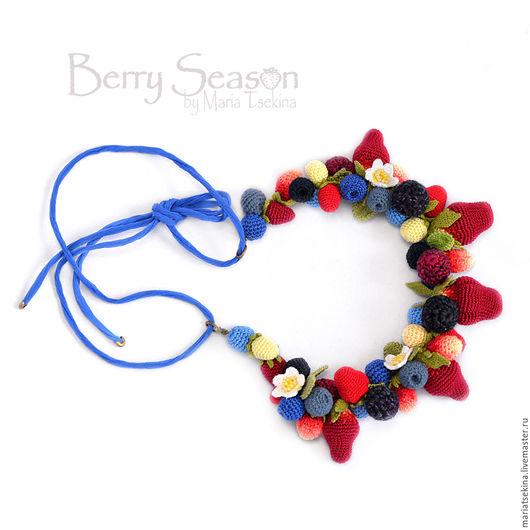 Колье, бусы ручной работы. Ярмарка Мастеров - ручная работа. Купить Колье из вязаных  ягод на синем шелковом шнуре. Handmade.