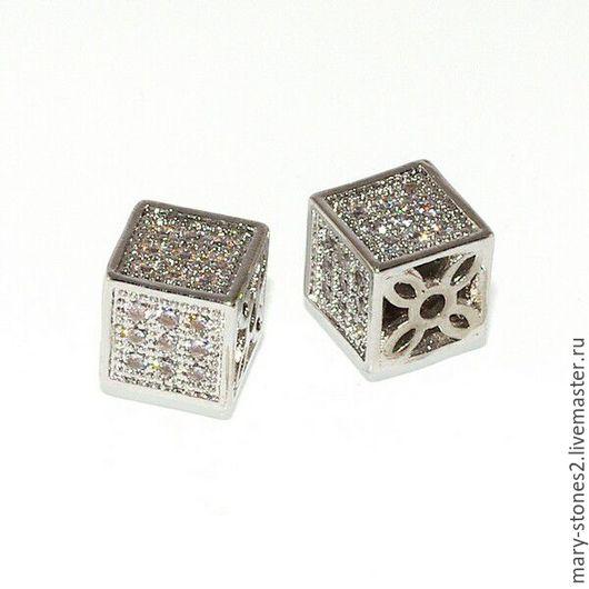 Для украшений ручной работы. Ярмарка Мастеров - ручная работа. Купить Бусина кубик 8мм с фианитами, серебро. Handmade.