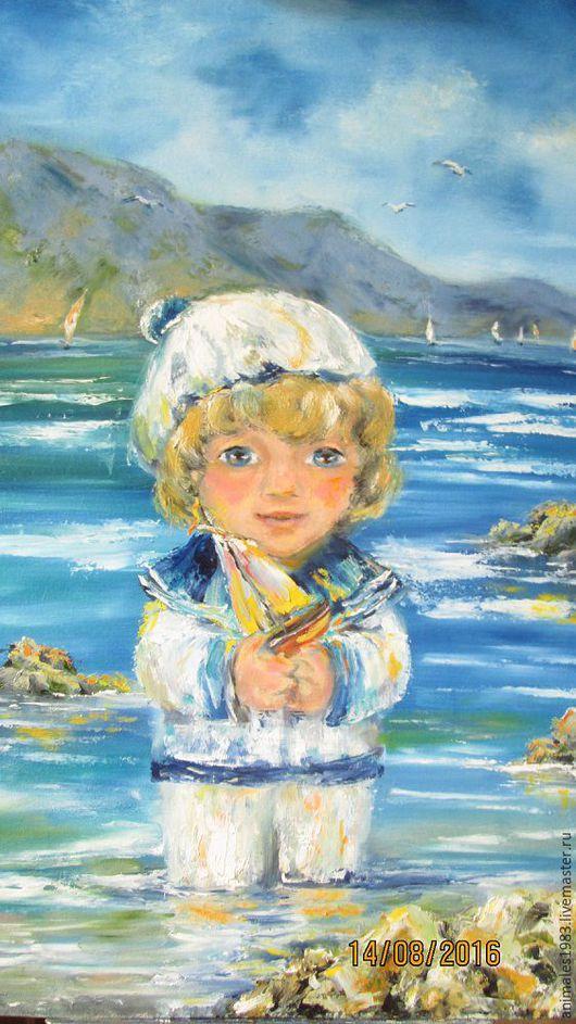 Картина маслом из серии `Море`. Дети и море-3. Морячок.