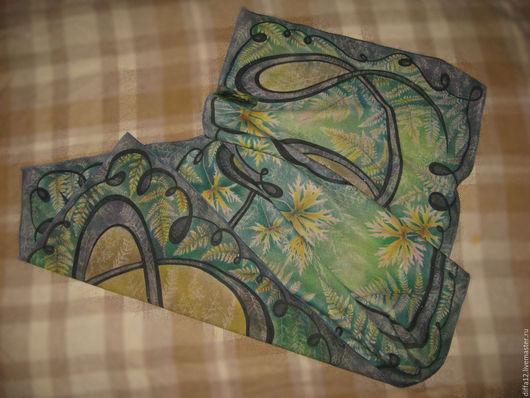"""Шали, палантины ручной работы. Ярмарка Мастеров - ручная работа. Купить Палантин """"Изумрудная спираль"""". Handmade. Морская волна, платок"""