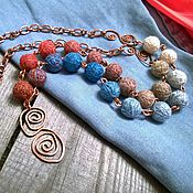 Украшения handmade. Livemaster - original item Beads, Textile, Fire and Water on a Copper Chain Boho Blue Red. Handmade.