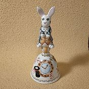 "Сувениры и подарки handmade. Livemaster - original item Porcelain bell ""the White rabbit"". Handmade."