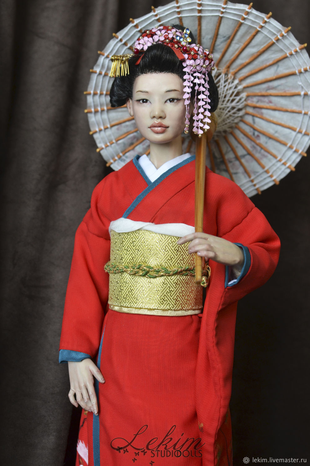 """One Of A Kind interior doll """"Japanese girl with umbrella"""", Dolls, Chernogorsk,  Фото №1"""
