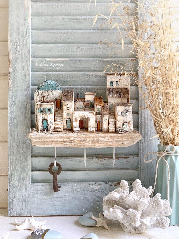 """Ключница для прихожей """"Маленькая Греция"""" домики, дрифтвуд арт, Ключницы настенные, Сочи,  Фото №1"""
