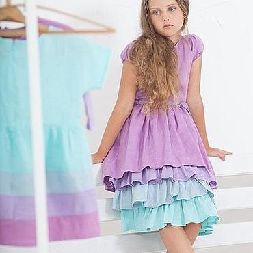Работы для детей, ручной работы. Ярмарка Мастеров - ручная работа Детское многослойное платье «Лилово-мятное». Handmade.