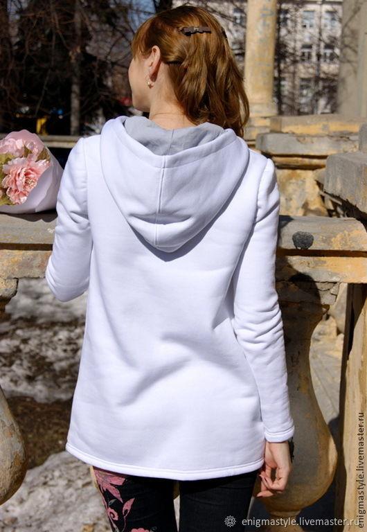 d21f96b5 Белая длинная толстовка Амели, женское худи – купить в интернет ...