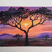 """Картины ручной работы. Ярмарка Мастеров - ручная работа Мини-картина акрилом """"Африканский закат"""". Handmade."""