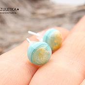 Украшения handmade. Livemaster - original item Sea drops - stud earrings studs lampwork - glass cabochons lampwork. Handmade.