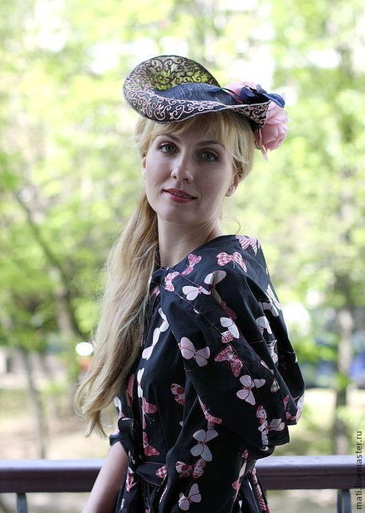 """Шляпы ручной работы. Ярмарка Мастеров - ручная работа. Купить шляпка """"Фрейлина"""". Handmade. Черный, торжество, синамей"""