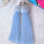 Украшения handmade. Livemaster - original item Drop blue beaded and silk brush earrings. Handmade.