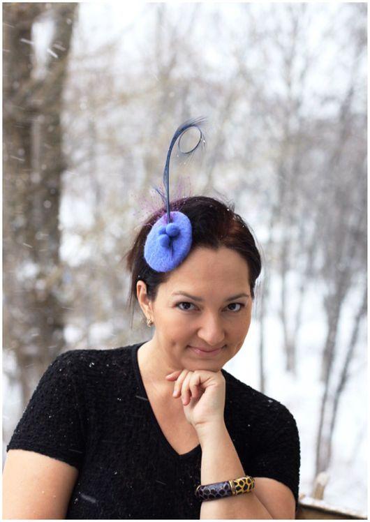 Шляпы ручной работы. Ярмарка Мастеров - ручная работа. Купить Эффектная синяя шляпка для скачек. Handmade. Синий, королева, рето