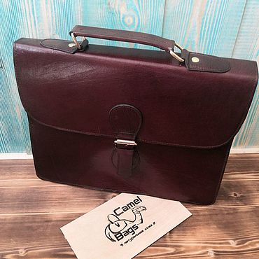 Bags and accessories handmade. Livemaster - original item Men`s briefcase made of genuine camel leather. Handmade.