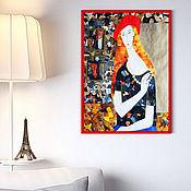 """Картины и панно ручной работы. Ярмарка Мастеров - ручная работа Картина """"Парижанка"""" в стиле Модильяни. Коллаж. Париж. Handmade."""