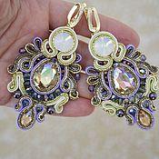 Украшения handmade. Livemaster - original item Bright soutache earrings with colored crystals for summer. Handmade.