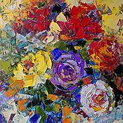 """Картины и панно ручной работы. Ярмарка Мастеров - ручная работа """"Цветные Сны"""" картина маслом розы. Handmade."""