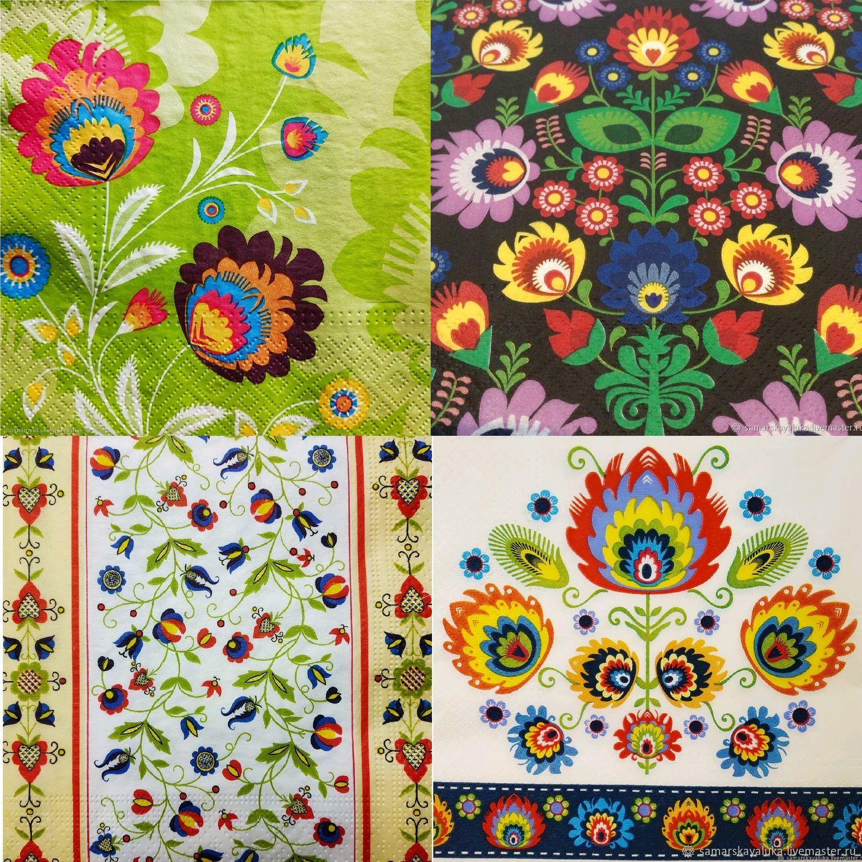 Салфетки для декупажа 33х33 Русские узоры 4 вида, Салфетки, Самара, Фото №1