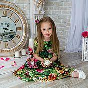 Работы для детей, ручной работы. Ярмарка Мастеров - ручная работа Платье для девочки зеленое. Handmade.