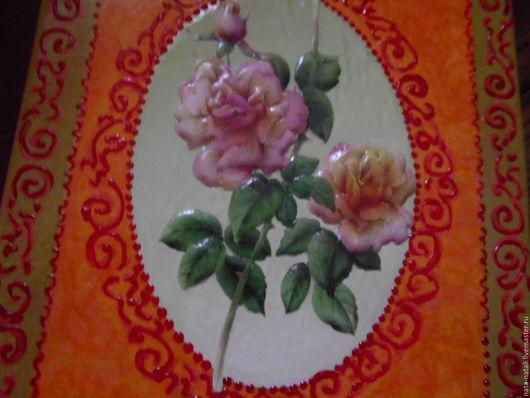 Картины цветов ручной работы. Ярмарка Мастеров - ручная работа. Купить панно  розовые   розы. Handmade. Оранжевый, розовый