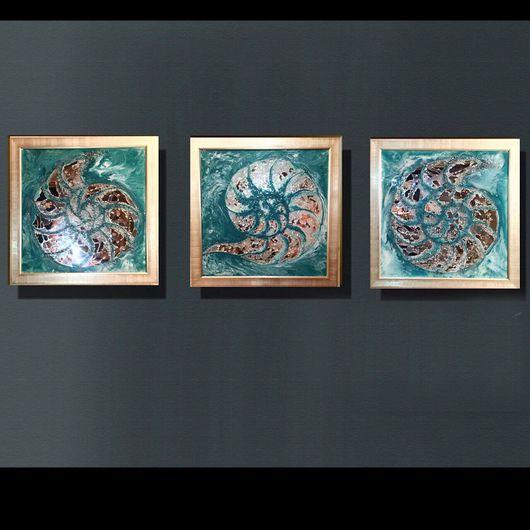Абстракция ручной работы. Ярмарка Мастеров - ручная работа. Купить Наутилиус. Handmade. Картина, панно, блеск, зеркала, море, хрусталь