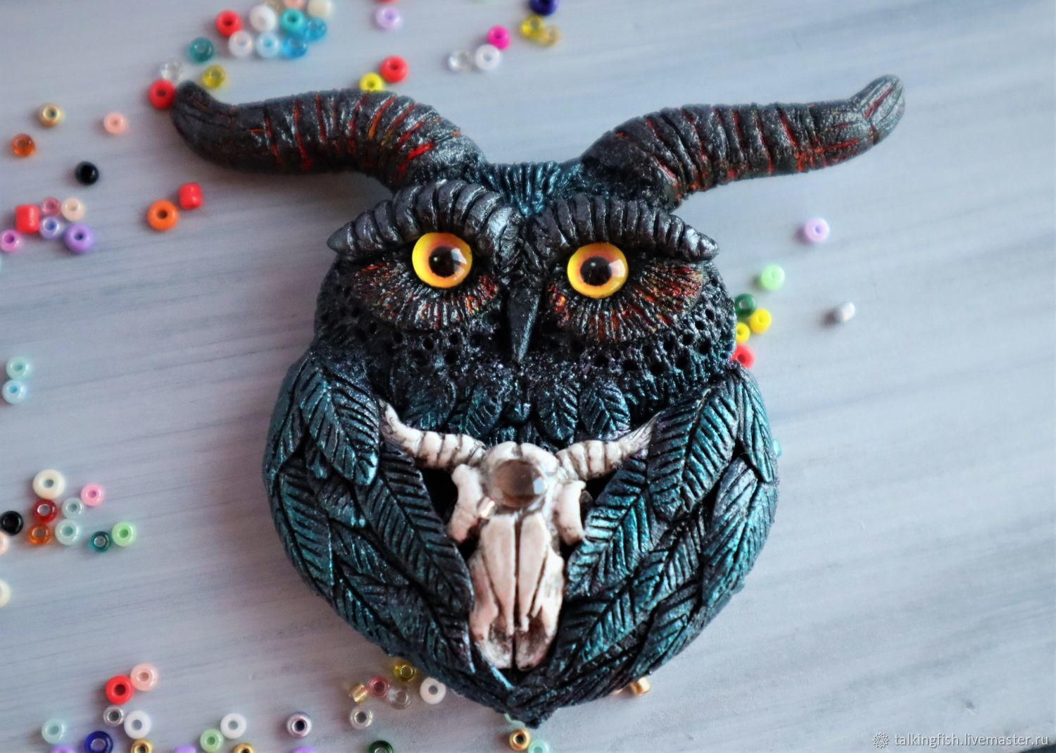 Great horned owl. Brooch made of polymer clay with rauchtopaz, Brooch-clip, Pushkino,  Фото №1
