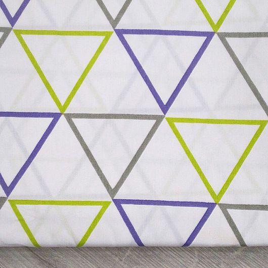 Шитье ручной работы. Ярмарка Мастеров - ручная работа. Купить Ткань хлопок треугольники белый фон. Сатин. 100% Хлопок. Handmade.