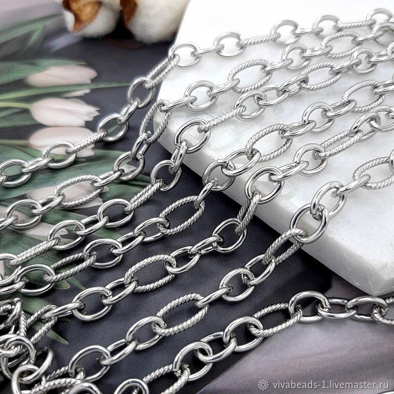 50 cm Figaro Steel Chain 7x5x1 mm & 10x5x1 mm (4777), Chains, Voronezh,  Фото №1