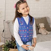 Работы для детей, handmade. Livemaster - original item vest with embroidery. Handmade.