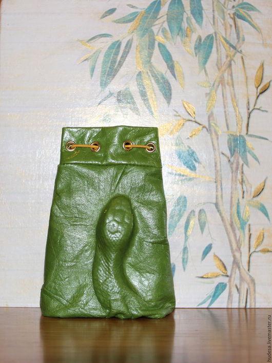 """Футляры, очечники ручной работы. Ярмарка Мастеров - ручная работа. Купить Кожаный чехол """"Serpent pour Alena"""". Handmade."""