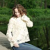 """Одежда ручной работы. Ярмарка Мастеров - ручная работа """"Тополиный пух"""" - ажурный свитер из шелка и шерсти. Handmade."""