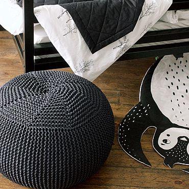 Мебель ручной работы. Ярмарка Мастеров - ручная работа Пуф вязаный бескаркасный Black Superpuff. Handmade.