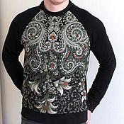 Мужская одежда handmade. Livemaster - original item Black and green scarf sweatshirt. Handmade.