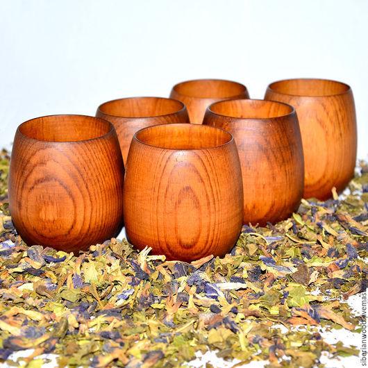 Кружки и чашки ручной работы. Ярмарка Мастеров - ручная работа. Купить Стакан кружка деревянная (набор) для чая и др из натурального кедра N2. Handmade.