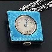 Антикварная серебряная подвеска-часы эмаль-гильош