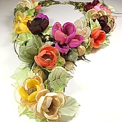 Украшения handmade. Livemaster - original item Autumn pastoral. Necklaces, fabric flowers.. Handmade.