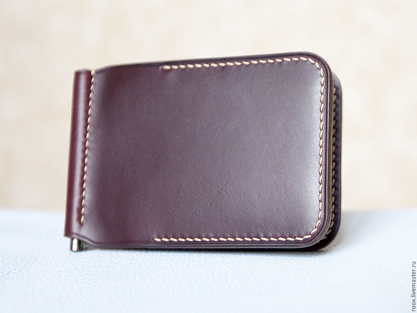 Wallet with money clip Burgundy (Horween leather ), Clamps, Moscow,  Фото №1